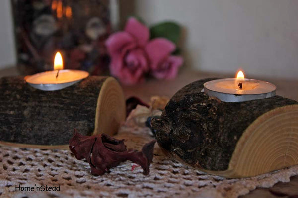 Rustic Wedding Votive / Tea Candle Stand Table Centerpiece Pair - thatfamilyshop.com