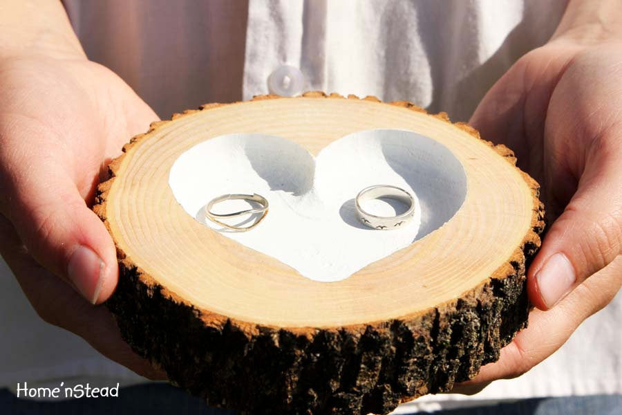 Rustic Wedding Ring Bearer Pillow Log Ring Dish Engraved Heart - thatfamilyshop.com
