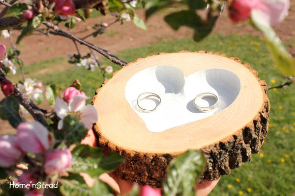 Rustic Wedding Ring Bearer Pillow Log Ring Dish Engraved Heart-thatfamilyshop.com