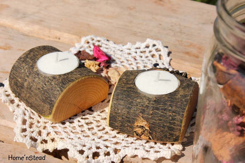 Rustic Wedding Votive / Tea Candle Stand Table Centerpiece Pair-thatfamilyshop.com