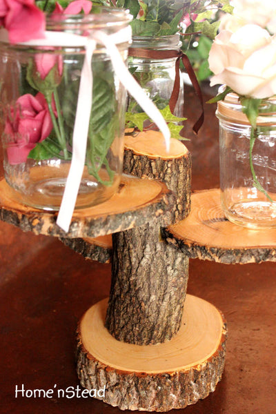 3-Tiered Rustic Wedding Decor Tree Mason Jar / Candle Stand Table Center Piece Holder-thatfamilyshop.com