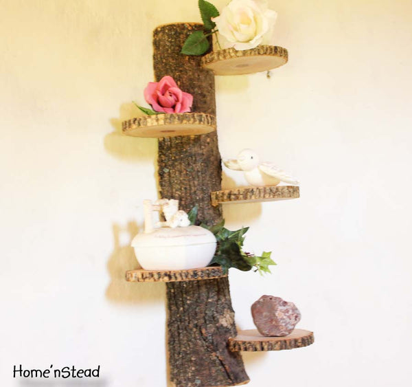 Tiered Display Stand, Log Trophy Shelf Trinket Rustic Home Wall Decor-thatfamilyshop.com