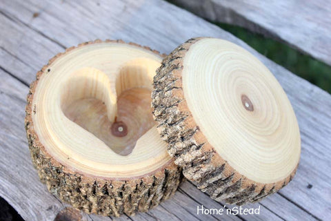 Natural Log Jewelry Organizer Box, Rustic Heart-Shaped Container, Wedding Ringbearer - thatfamilyshop.com