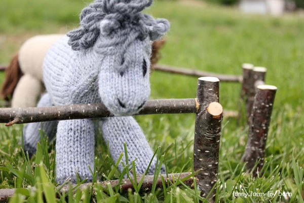 Fencing Set of 5 Toy Fence Pieces Barn Animal Natural Wooden Twig Bark Waldorf - thatfamilyshop.com
