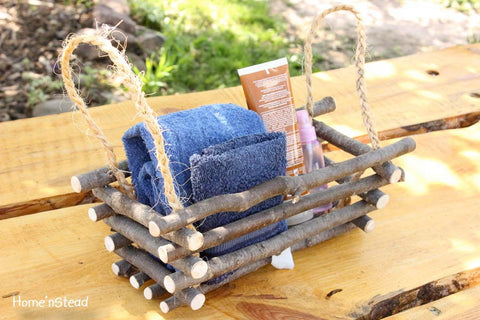 Rustic Log Basket Box Rustic Home Decor Log Cabin Bathroom Kitchen Decoration - thatfamilyshop.com