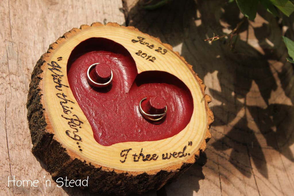 "CHOOSE YOUR OWN Color and Lettering Rustic Wedding Ring ""Pillow"" Log Ring Dish Engraved Heart-thatfamilyshop.com"