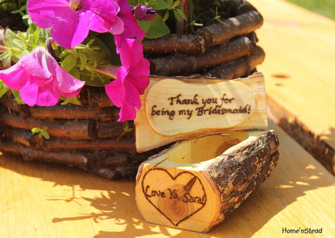 Bridesmaid Gift Jewelry Box Custom Personalization Rustic Log Flower Girl Wedding Party Favor Anniversary Keepsake-thatfamilyshop.com