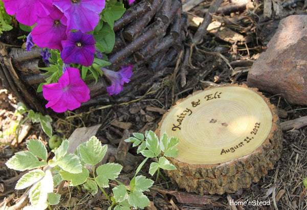"Lidded Ring Box ""Pillow"" Rustic Wedding Custom Color and Lid Personalization Names Date-thatfamilyshop.com"