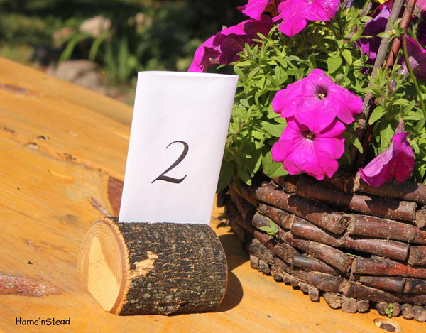 Tree-Chunk Card Holders Rustic Wedding Place Setting Reserved Seating Table Number Menu Stand-thatfamilyshop.com