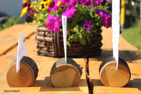 Tree-Chunk Card Holders Rustic Wedding Place Setting Reserved Seating Table Number Menu Stand - thatfamilyshop.com