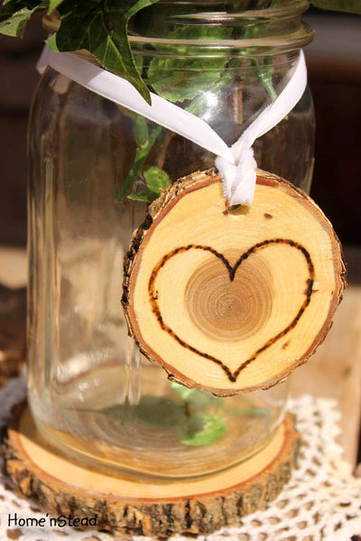 Rustic Wedding Tokens Mason Jar Decoration Hearts Table Centerpiece Heart Valentines Day Decor-thatfamilyshop.com