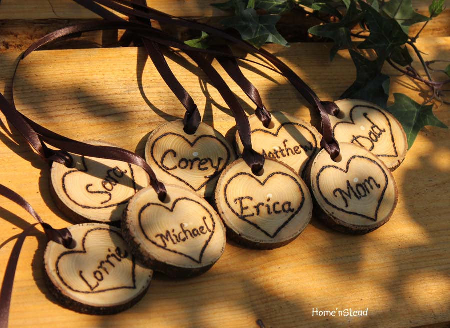 Rustic Wedding Tokens Mason Jar Decoration Custom Names / Dates / Mr. Mrs. Christmas Ornament Inside Hearts Table Centerpiece-thatfamilyshop.com