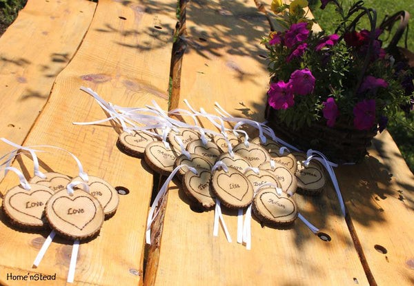 Rustic Wedding Tokens Mason Jar Decoration Custom Names / Dates / Mr. Mrs. Christmas Ornament Inside Hearts Table Centerpiece - thatfamilyshop.com