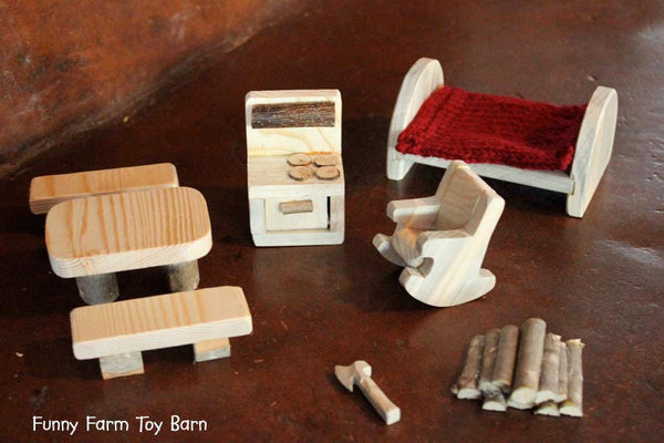 Dollhouse Furniture Waldorf Peg People Rustic Cabin Natural Custom Made to Order-thatfamilyshop.com