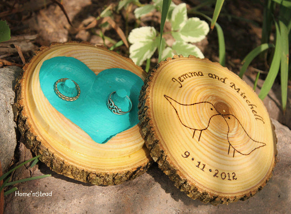 "Lidded Ring Box ""Pillow"" Rustic Wedding Custom Color and Lid Personalization Names Date - thatfamilyshop.com"