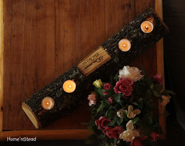 Rustic Log Holder Custom Names Centerpiece 20 Inch 4 Candle Rustic Wedding Cabin Decor Table Piece Slab Ash Wood-thatfamilyshop.com