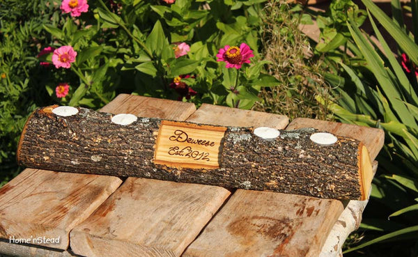 Rustic Log Holder Custom Names Centerpiece 20 Inch 4 Candle Rustic Wedding Cabin Decor Table Piece Slab Ash Wood - thatfamilyshop.com