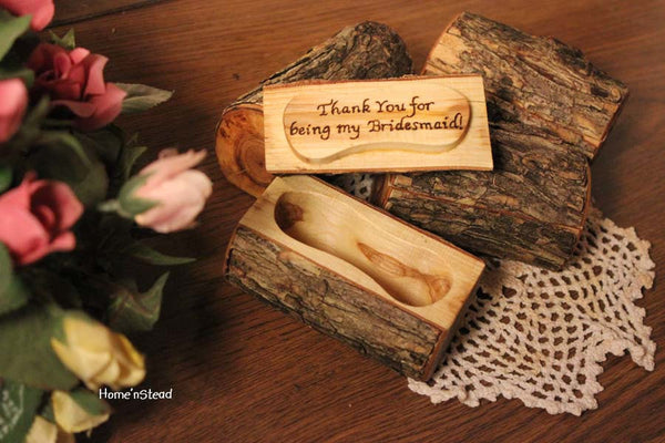 Bridesmaid Gift Jewelry Box Custom Personalization Rustic Flower Girl Wedding Party Favor-thatfamilyshop.com