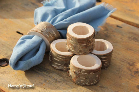 Rustic Napkin Birch Bark (6 pcs) Ring Holders Wedding Decor Log Home Kitchen Party Favor Thanksgiving Table Set - thatfamilyshop.com
