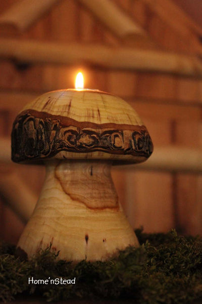 Log Mushroom Candle Rustic Holiday Table Decor Tea Light Holder Natural Waldorf - thatfamilyshop.com