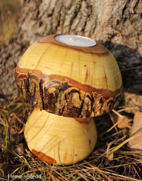 Log Mushroom Candle Rustic Holiday Table Decor Tea Light Holder Natural Waldorf-thatfamilyshop.com