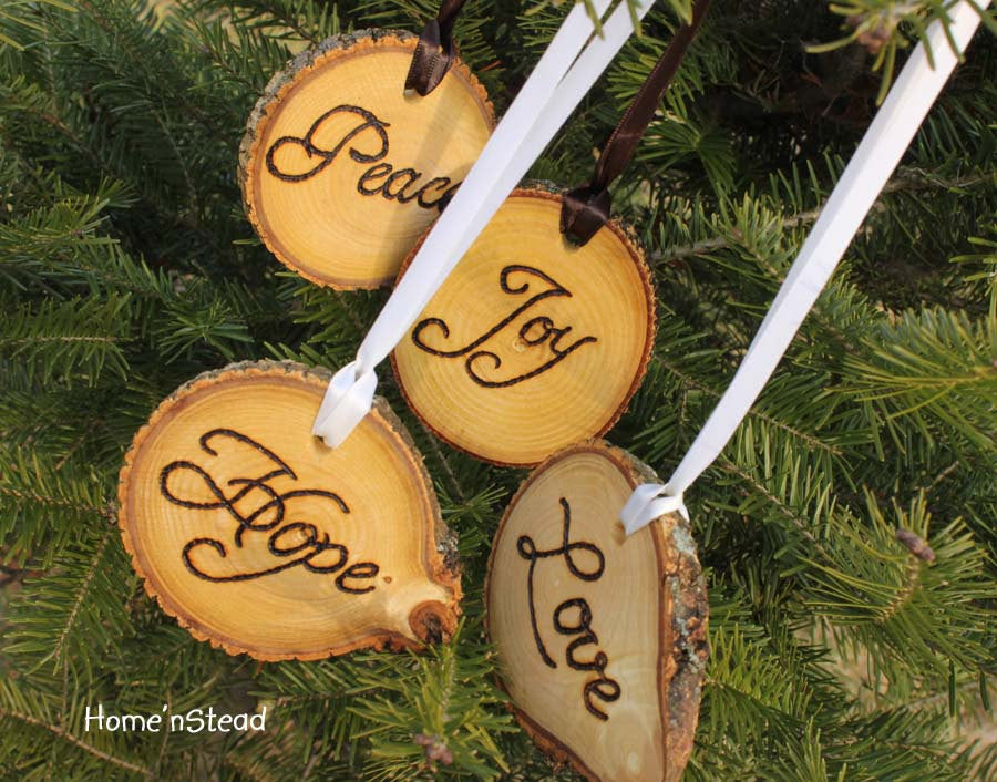 Peace Christmas Ornament.Rustic Country Christmas Ornament Set Of 4 Hope Love Peace Joy Primitive Holiday Home Decor Tree