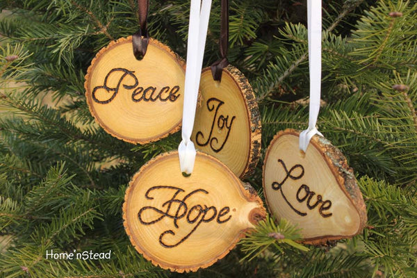 Rustic Country Christmas Ornament Set of 4 Hope, Love, Peace, Joy Primitive Holiday Home Decor Tree-thatfamilyshop.com