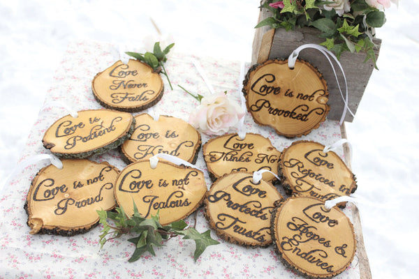 Love is Patient, Love is Kind Set of Ten 1.Cor.13: Rustic Wedding Aisle Decorations Bible Scripture - thatfamilyshop.com