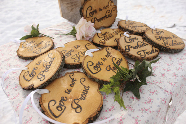 Love is Patient, Love is Kind, Set of Ten 1.Cor.13: Rustic Wedding Aisle Decorations Bible Scripture Verses-thatfamilyshop.com