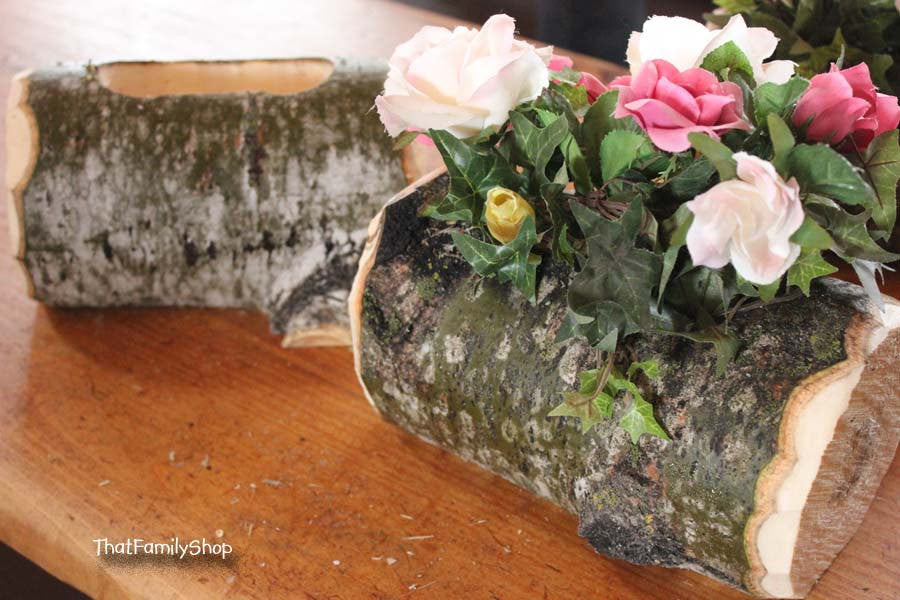 Log Flower Vase Rustic Wedding Table Centerpiece Decoration - thatfamilyshop.com