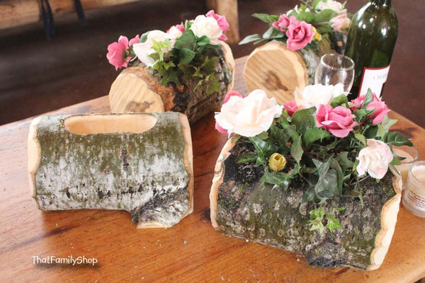 Log Flower Vase Rustic Wedding Table Centerpiece Decoration-thatfamilyshop.com