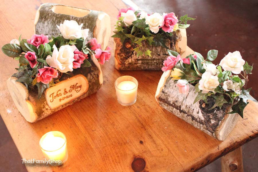 Log flower vase rustic wedding table centerpiece custom