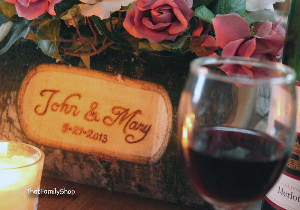 Log Flower Vase Rustic Wedding Table Centerpiece Custom Names/Date Personalization Decoration-thatfamilyshop.com