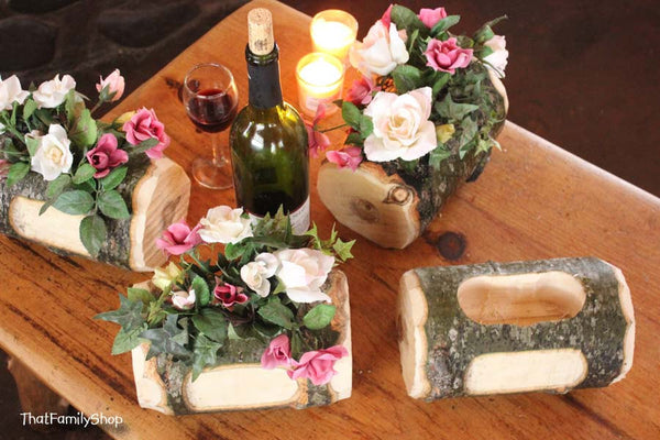 Log Flower Vase Rustic Wedding Table Centerpiece Custom Names/Date Personalization Decoration - thatfamilyshop.com