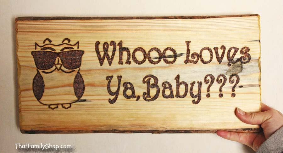 Whooo Loves Ya, Baby Cool Owl Valentine's Day Personalized Gift Wall Plaque-thatfamilyshop.com