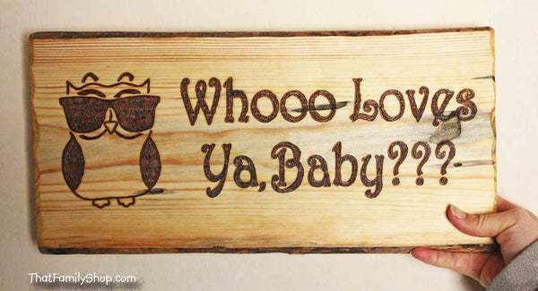 Whooo Loves Ya, Baby Cool Owl Valentine's Day Personalized Gift Wall Plaque - thatfamilyshop.com