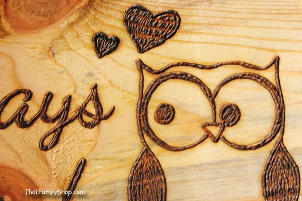 Owl Plaque, Cute Rustic Personalized Wall Gift Art-thatfamilyshop.com