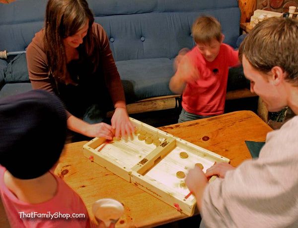 Table Hockey--Nonstop Action! Wooden Classic Family Table-Top Fun Puckett Game-thatfamilyshop.com