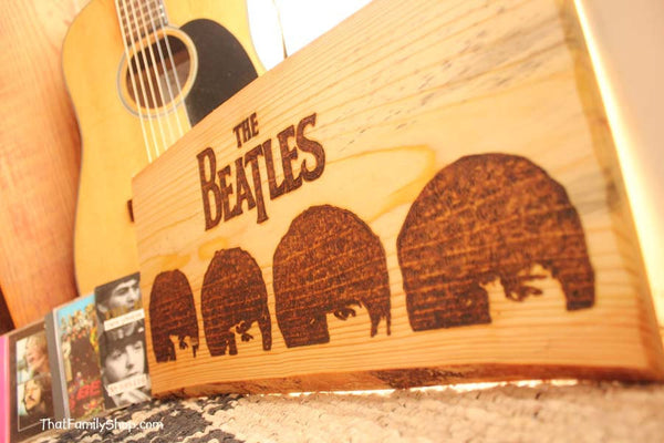 The Beatles Wood Burned Wall Art Plaque A Hard Day's Night Fan Gift - thatfamilyshop.com