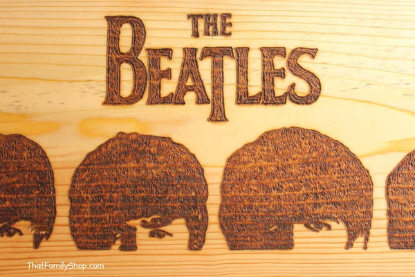 The Beatles Wood Burned Wall Art Plaque A Hard Day's Night Fan Gift-thatfamilyshop.com