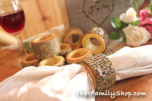Real Log Napkin Rings (8 pcs) Holders Wedding Decor Home Kitchen Party Favor Dining - thatfamilyshop.com