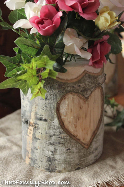 Rustic Wedding Log Flower Vase With YOUR Names/date Personalized into Debarked Hearts - thatfamilyshop.com