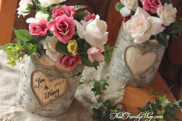Rustic Wedding Log Flower Vase With YOUR Names/date Personalized into Debarked Hearts-thatfamilyshop.com