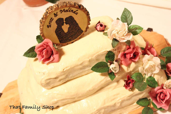 Woodburned Silhouette Wedding Cake Topper Custom Names Date Rustic-thatfamilyshop.com