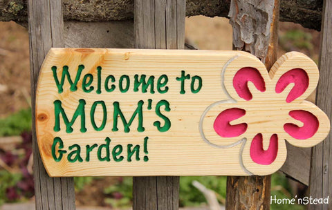 Garden Sign Custom Flower Plaque Name Outdoor Gardener's Christmas Gift for Mom Grandma - thatfamilyshop.com