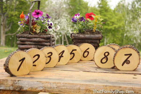 Rustic Wedding Burned Log Table Numbers Wood Bark Country Decor - thatfamilyshop.com
