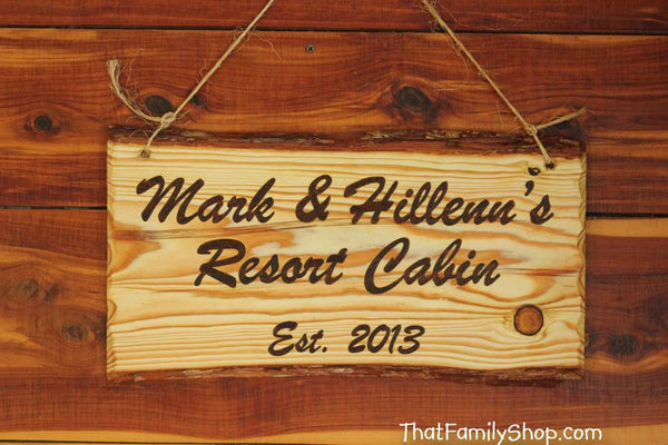 Custom Woodburned Sign Rustic Plaque Names Cabin Personalized-thatfamilyshop.com