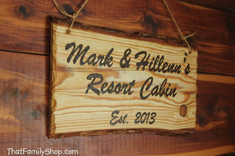 Custom Woodburned Sign Rustic Plaque Names Cabin Personalized - thatfamilyshop.com