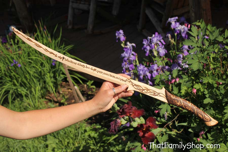 Girls Wooden Sword Arwen's Lord of the Rings Hadhafang Replica Costume Prop Burned Elvish All Natural-thatfamilyshop.com
