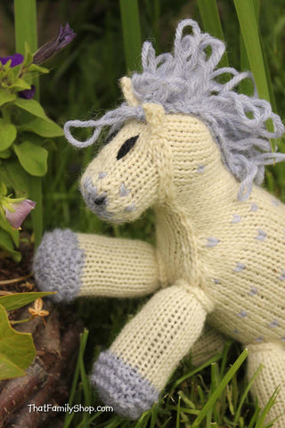 Nico: Knitted Pony Stuffed Animal Horse Natural Waldorf Inspired Eco Friendly Toy - thatfamilyshop.com